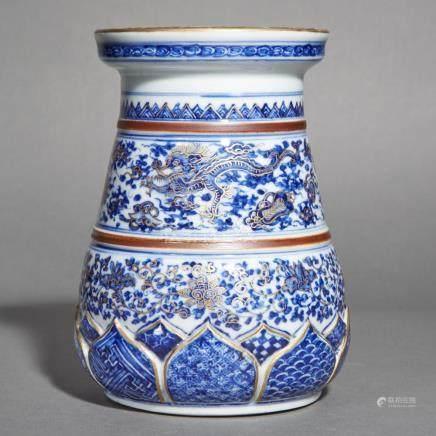 Japanese Blue, White and Gilt Porcelain Vase