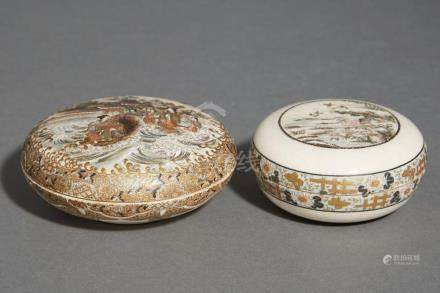 Two Japanese Satsuma Covered Boxes