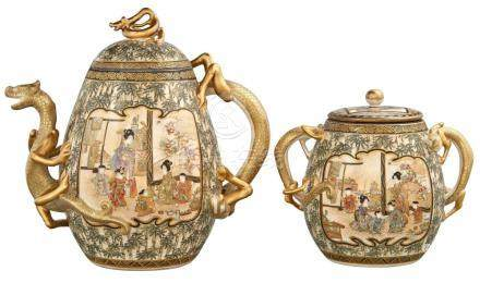 Japanese Satsuma Covered Teapot and Creamer
