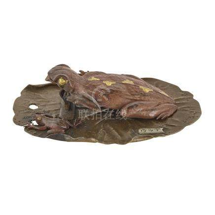 Japanese Gold And Silver Inlaid Bronze Frog Group