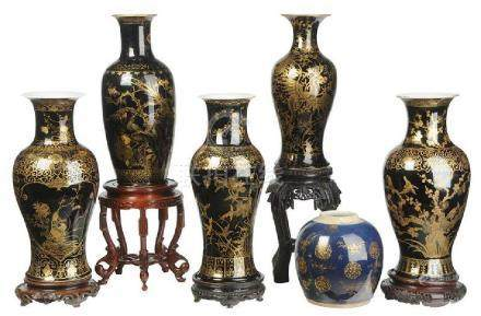 Six Gilt Black and Cobalt Blue Chinese Vases