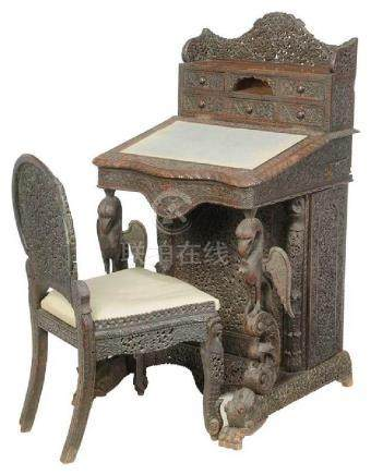 Anglo-Indian Carved Teak Davenport Desk, Chair