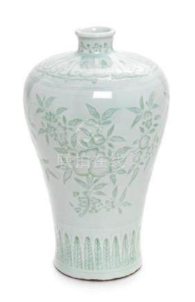 * A White Glazed Porcelain Vase, Meiping Height 8 1/4