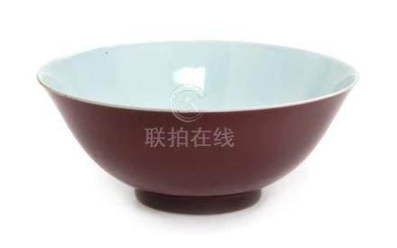 * A Copper Red Glazed Porcelain Bowl Diameter 7 3/4