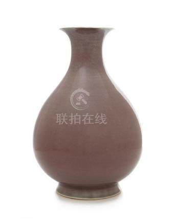 A Copper Red Glazed Porcelain Vase, Yuhuchun Ping