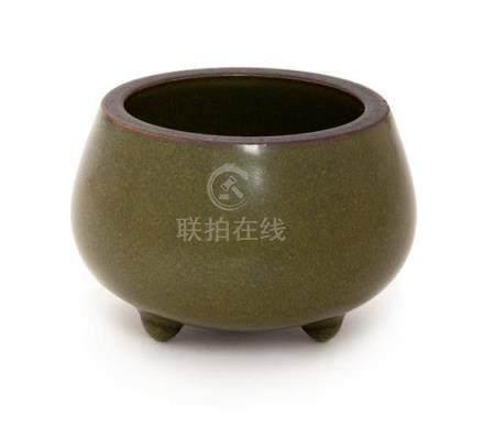 A Small Teadust Glazed Porcelain Tripod Censer Diameter