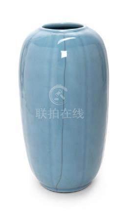 A Guan- Type Porcelain Melon-Form Vase Height 14 1/4