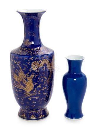 * Two Blue Glazed Porcelain Vases Height of taller 17