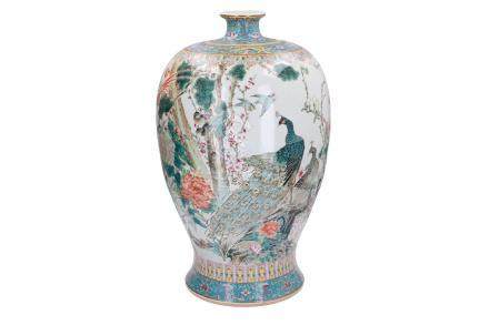 A large polychrome porcelain Meiping vase, decorated with peacocks, birds and flowers