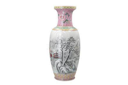 A polychrome porcelain vase, decorated with a mountainous winter landscape and characters
