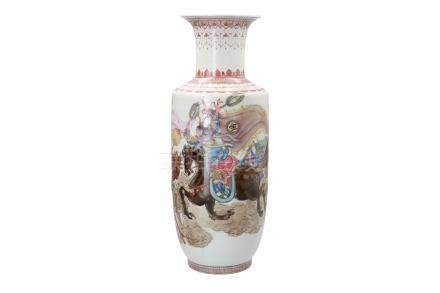 A polychrome porcelain vase, decorated with warriors on horses and characters
