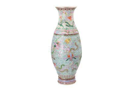 A polychrome porcelain vase, decorated with mythical birds, dragons, clouds, antiquities and characters