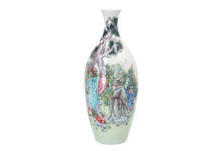 A polychrome porcelain vase, decorated with figures, little boys and a poem