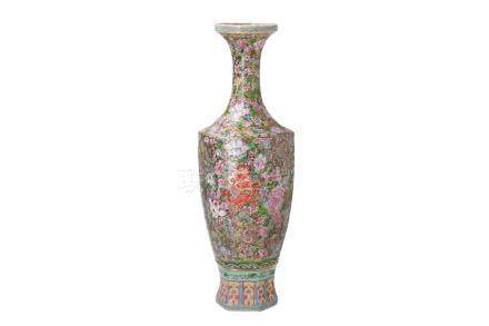 A polychrome eggshell porcelain vase, decorated with dragons and flowers
