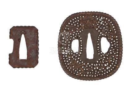 A lot of two iron tsubas, one with open work and traces of partly gilding