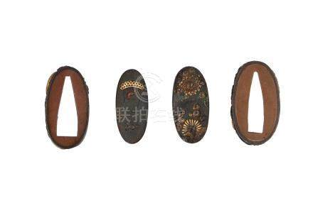 A lot of two Fuchi and two kashira, partly with gilding