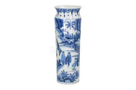 A blue and white porcelain sleeve vase, decorated with figures in a mountainous landscape