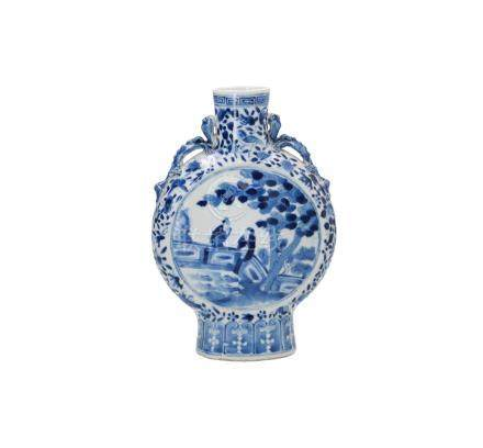 A blue and white porcelain moonflask in Yuan style, decorated with figures in a garden, birds, flowers and qilins