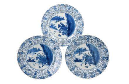 Three blue and white porcelain dishes, decorated with 'Joosje te paard'