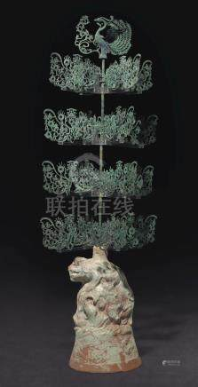 A RARE AND LARGE BRONZE AND GREEN-GLAZED POTTERY ' MONEY TREE'