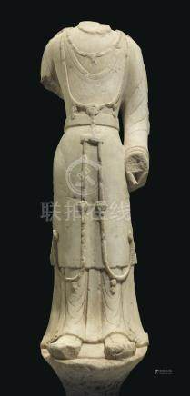 A MARBLE FIGURE OF A BODHISATTVA