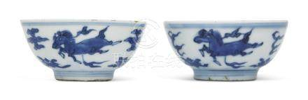 TWO SMALL BLUE AND WHITE CUPS