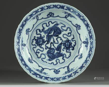 A Chinese blue and white 'Buddhist lions' dish