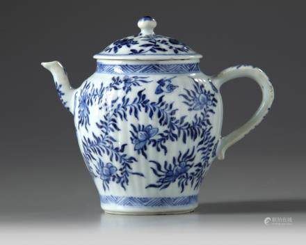 A Chinese blue and white moulded teapot