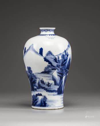 A Chinese blue and white 'scholar landscape' meiping