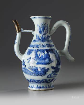 A silver-mounted Chinese blue and white ewer