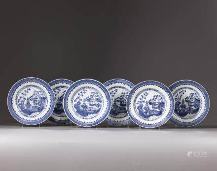 A set of six Chinese blue and white plates