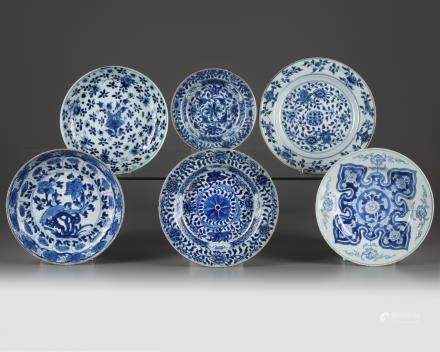 Six Chinese blue and white 'floral' dishes