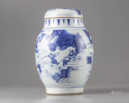 A blue and white pot and cover