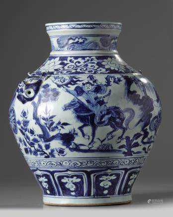 A Chinese Yuan-style blue and white vase