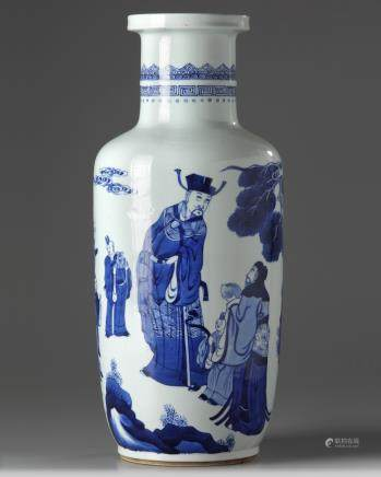 A Chinese blue and white rouleau vase