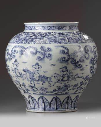 A large Chinese blue and white 'narrative' jar, guan
