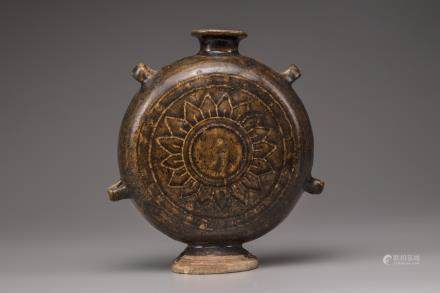 A Chinese brown glazed moon flask