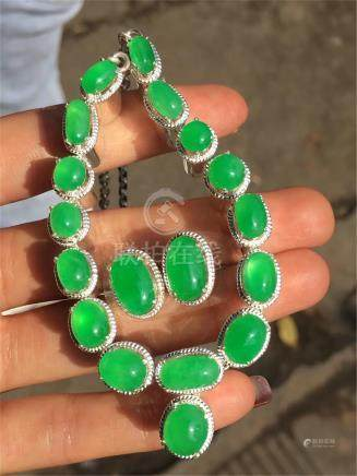 NATURAL JADEITE NECKLACE EARRINGS AND RING