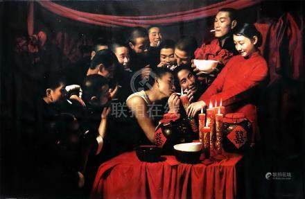 CHINESE OIL PAINTING OF BRIDE AND MEN ON CANVAS