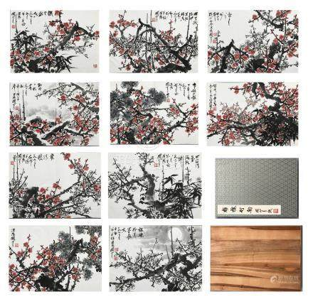 TEN PAGES OF CHINESE ALBUM PAINTING OF PLUM BLOSSOMMINGSS