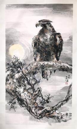 CHINESE SCROLL PAINTING OF EAGLE ON TREE