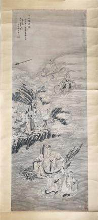 CHINESE SCROLL PAINTING OF LOHANS ON OCEAN