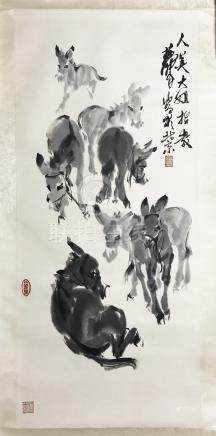 CHINESE SCROLL PAINTING OF DONKEY