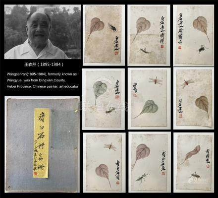 NINE PAGES OF CHINESE ALBUM PAINTING OF INSECT AND LEAF FROM WANG SENRAN'S COLLECTION