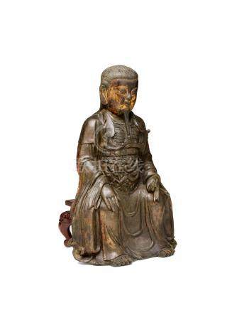 A GILT-LACQUERED BRONZE FIGURE OF ZHENWU Ming dynasty