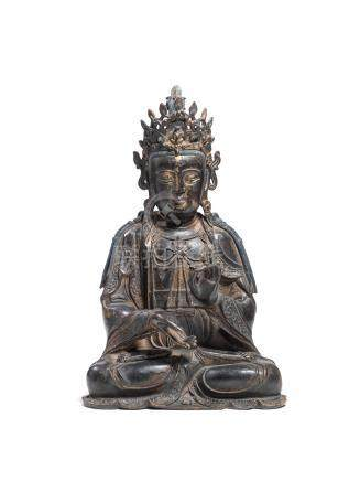 A RARE AND LARGE GILT-LACQUERED BRONZE FIGURE OF MAHASTHAMAPRAPTA Ming dynasty