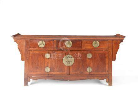 A Huanghuali and mixed wood altar coffer 18th century