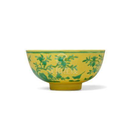 A RARE YELLOW-GROUND GREEN-ENAMELLED 'PEACH AND BIRD' BOWL  Yongzheng six-character mark and of the period