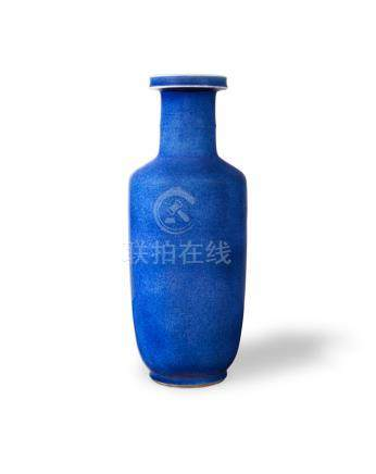 A POWDER-BLUE GLAZED ROULEAU VASE  Kangxi