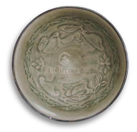 A YAOZHOU CELADON 'LOTUS POND' BOWL  Northern Song/Jin dynasty (2)